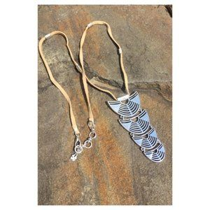 LUCKY BRAND Leather & Silver Tribal Necklace